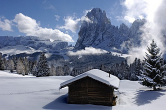 Snow covered alpine hut in the sunlight, Alpe di Siusi, Valle Isarco, South Tyrol, Italy, Europe