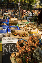 Viktualienmarkt in  Munich, truffle, funghi, background beer garden, Germany