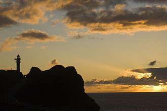 Lighthouse at the viewpoint Punta de Teno at sunset, Parque rural de Teno, Tenerife, Canary Islands, Spain, Europe