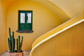 Window and yellow wall, Hotel Signum, Malfa, Salina Island, Aeolian islands, Sicilia, Sicily, Italy