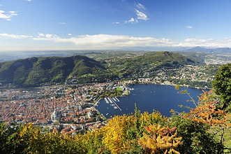 View at the city of Como and lake Como, Como, Lombardy, Italy, Europe