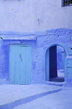 Blue walls and doors at Chefchaouen, Riff mountains, Morocco, Africa