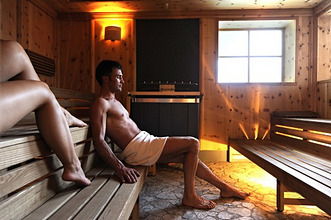 Two persons in a sauna, Alto Adige, South Tyrol, Italy, Europe