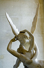 Antonio Canova's statue Psyche Revived by Cupid's Kiss, Musee du Louvre, Paris, France, Europe