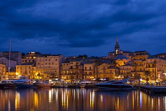 Europe, France, Corsica, Calvi, harbour and houses in the dusk