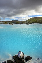 Blue lagoon, mountains, clouds, Thermal, volcanic, Iceland