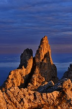 Rock towers of the Latemar group in sunrise