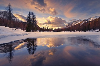 Italy, the Dolomites, South Tyrol, Lago San Pellegrino, winter, snow, ice, clouds, reflection, trees, mountains, wood, sky, epical, dream, paradise, glow, light, sunset, colours, frozen, lake, panorama, scenery