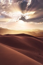 USA, America, Death Valley, Eureka Sand Dunes, dunes, sand, desert, light, back light, rays, clouds, dramatical, mood, colours, structures, shapes, landscape