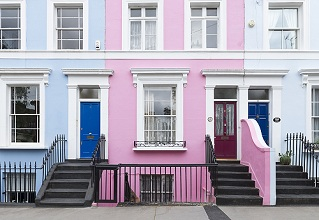 England, London, Notting Hill. Typical English row of houses
