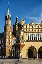 Poland, Lesser Poland, Cracow / Krakow, The Cloth Hall, Main Square and St. Mary's Basilica, The second largest and one of the oldest cities in Poland