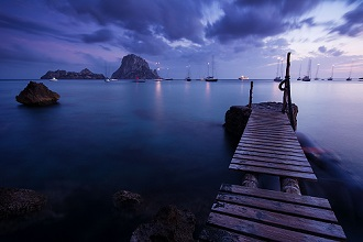 Evening Shot in Cala d'hort with View to Isla de es Vedrà, Ibiza, Spain
