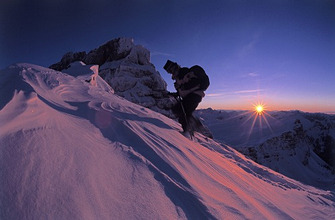 Austria, small Walsertal, Blackwater valley, high Ifen, Mountain hikers, evening, wintersMountains, mountains, 2230 m, hikers, alpine sport, mountain sport, tour walkers, twilight, twilight, evening mood, sunset, dusk, sun, back light, winter evening, full of atmosphere, mountain massif, snow,