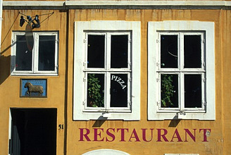 Denmark, Copenhagen, Nyhavn, Restaurant, detail,Buildings, house, facade, house facade, yellow, windows, pizzeria
