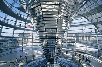 Germany, Berlin, Reichstag buildings, Glass dome, detail, reflection, visitors,only editorially!Series, Europe, capital, district, Berlin zoo, government buildings, Reichstag, seat of government, dome, dome architecture, architecture, Architect Sir Norman Foster, Reichstag dome, tourists build 1995-1999, sight, interior