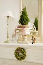 Mantelpiece, Christmas decoration, lamp, baby photo,