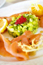 Smoked salmon with cucumber salad