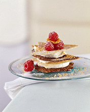 Tower of champagne mousse, chocolate crisps and raspberries