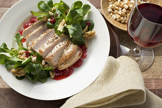 Pheasant breast with cranberry sauce and corn salad
