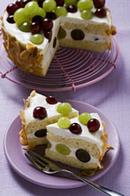 Yoghurt cake with grapes