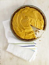 Mango Ice Cream Pie with Slice Removed