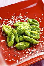 Gnocchi with pesto and pecorino cheese