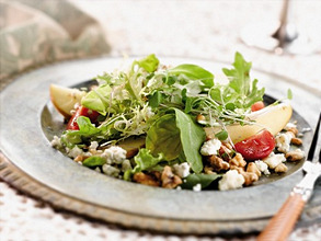 Pear and Gorgonzola Cheese Salad on a Pewter Salad Plate with a Fork