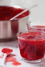 Homemade Strawberry Jam in Glass Cups, Strawberry Jam in a Pot