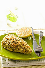 Fillet of fish with a herb crust and lemon