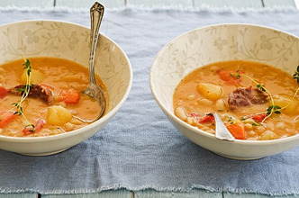 Vegetable soup with sausage
