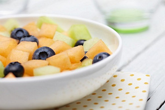 Bowl of Fruit Salad, Cantaloupe, Honeydew and Blueberries