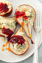 Baked pears with blue cheese and cranberry jam