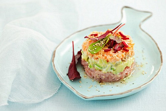 Tuna and salmon tartar with avocado