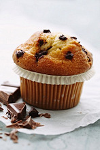 A chocolate chip muffin