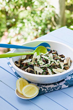 Barbecued mushrooms with chives and parmesan