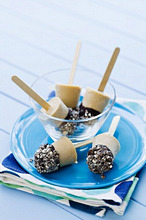 Bailey's ice lollies dipped in chocolate and biscuit crumbs