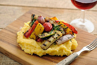 Grilled Vegetables With Polenta, selective focus