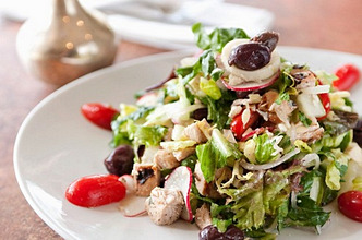 Chopped Salad with Chicken, Olives and Tomato