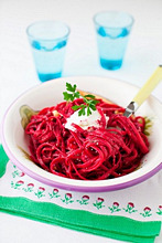 A Bowl of Whole Wheat Linguine with Roasted Beet Puree and Chia Seeds