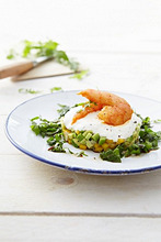 Mango and avocado tartar with prawns
