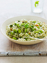 Pea risotto with broad beans and mint