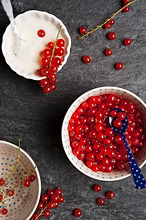 Bowls of redcurrants and yogurt