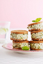 Ice cream sandwiches made with basil ice cream