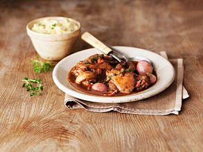 Coq au vin with mashed potatoes