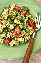 Pasta salad with basil pesto and tomatoes