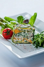 Vegetable timbale with cream cheese