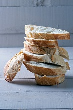 A stack of baguette slices
