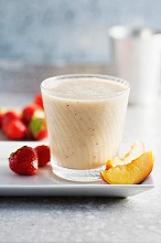A strawberry, nectarine and banana smoothie