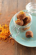 Vegan chocolate & orange truffles in a glass jar