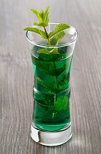Green mint liqueur in a glass